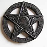 Pentagram wall hanging, Hand carved wooden plaque 15cm