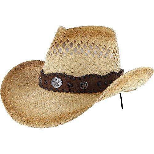 COWBOY Western Shapeable STRAW HAT Panama Cowgirl Raffia Sun Rodeo Concho Cap Style 7COE360
