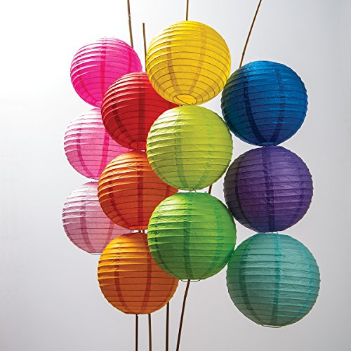 Luna Bazaar Paper Lanterns (8-Inch, Multicolor, Set of 12) - Rice Paper Chinese/Japanese Hanging Decorations - For Home Decor, Parties, and Weddings (Rice Paper Lantern 12 compare prices)