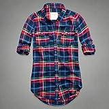 Abercrombie & Fitch アバクロ レディース 長袖 フランネル チェックシャツ ネルシャツ [ネイビー] 並行輸入品