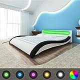 vidaXL Schwarz Weißes geschungenes Kunstlederbett Memory Foam Matratze/LED Leiste 200x180cm
