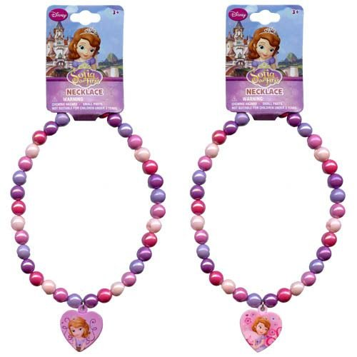 Disney Princess Sofia the First Beaded Rainbow Necklace with Heart Charm - Assorted Styles