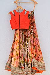 Georgette Party Wear Lehenga Choli in Orange and Green Colour