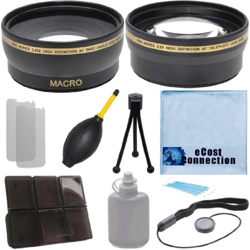 Pro Series 58Mm 0.43X Wide Angle Lens + 2.2X Telephoto Lens With Deluxe Lens Accessories Kit For Canon Ef 24Mm F/2.8 Is Usm Lens, Canon Ef-S 55-250Mm F/4-5.6 Is Ii Lens, Canon Ef 70-300Mm F/4.5-5.6 Do Is Usm Lens