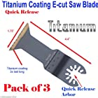 Pack of 3 Titanium Bi Metal Metal Quick Release Universal Fit Multi Tool Oscillating Multitool Saw Blade for Craftsman 20v Bolt-on Mm20 Rockwell Hyperlock Shopseies 12v Universal Fit Porter Cable Dewalt Black and Decker Bosch GOP Tool Free System