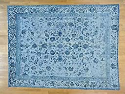 9\'x12\' Hand Knotted Sky Blue Overdyed Persian Tabriz Barjasta Oriental Rug G25044