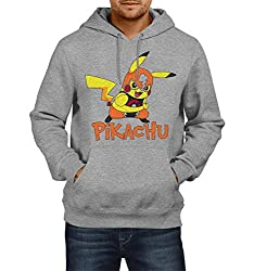 Fanideaz Men's Cotton Electric Pikachu Pokemon Hoodies For Men (Premium Sweatshirt)_Grey Melange_M