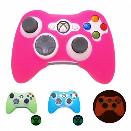 PINK GLOW in DARK Xbox 360 Game Controller Silicone Case Skin Protector Cover (Many Colors Available)