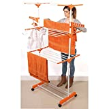 DWD ® Clothes Airer Drying Rack Extra Large Deluxe 3 Tier Clothes Drying Rail (20M Hanging Space) White & Orange Folds Flat For Easy Storage