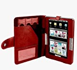 Navitech Genuine Red Bycast Leather Flip Open Book Style Carry Case / Cover for the Archos 70B eReader 4GB 7 Inch Android Interface, Wifi, USB 2.0