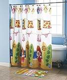 """Hanging Loose"" Collection Beach Surfboard Bikini Flip Flop Shower Curtain"
