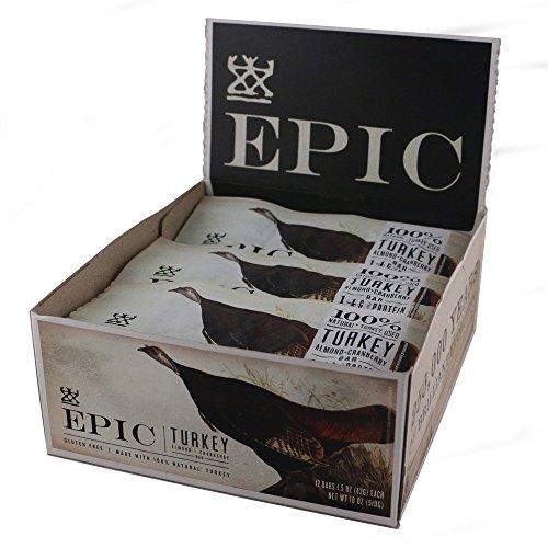 Epic All Natural Meat Bar Turkey Almond Cranberry - 12 Pack 1.5Oz Each Net Wt 18Oz