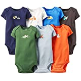 Carter's Baby-boys' 7 Pack Short Sleeve Bodysuits Assorted Solids