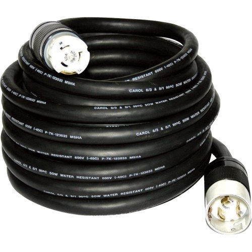 Cep Construction Electrical Products 6450M 50-Feet Black Rubber Temporary Power Cord With 50-Amp Plug Ends