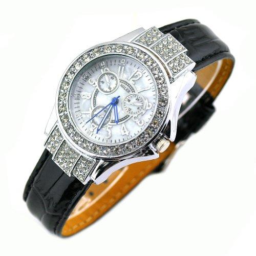 Deedo Women'S Genuine Leather Crystal Fashion Watch