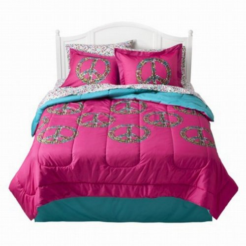 Xhilaration Full Bed In Bag Hot Pink Peace Signs Comforter Sheets Shams Set front-925365
