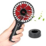 Skyreat Portable Mini Personal Battery Handheld Fan with LCD Dispaly Design,Rechargeable USB 2500mAh Battery Operated Hand Fan Strong Wind for Travel Home and Office (Color: Black)