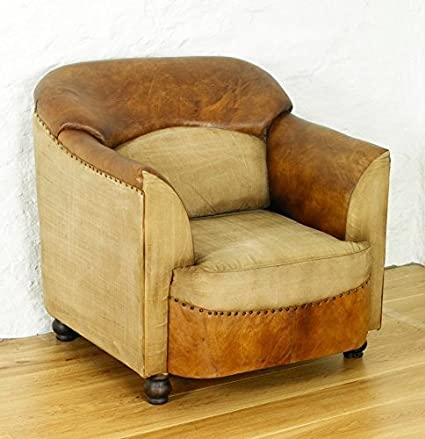 Baumhaus Roadie Chic Leather and Cotton Tub Chair, Size: H 85cm, W 80cm, D 85cm