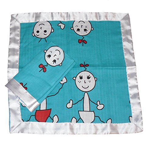 "The Super Cool Kids Baby Security Blanket| Organic Muslin| 2 Pack| Unisex| 16""x 16"""