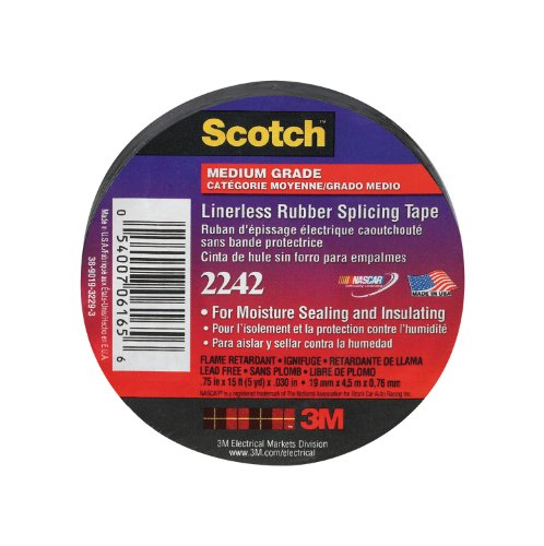 Scotch Linerless Electrical Rubber Tape, .75-Inch by 15-Foot