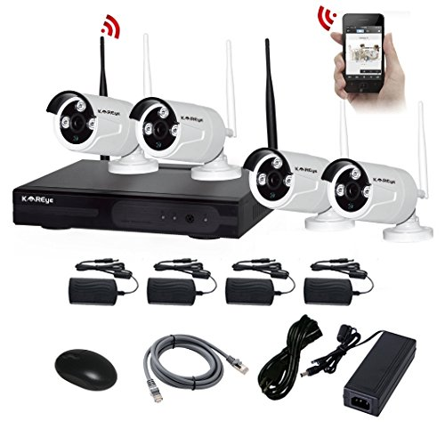 4CH-NVR-Kits-KAREye-Wireless-IP-Network-Camera-System-Video-Surveillance-Kits-with-4-of-720P-Outdoor-IR-Bullet-IP66-CameraWhite