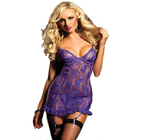 Ricamo Set Lady Sexy Lingerie Perspective Stampa Lure Underwear,Fami (viola, 2XL)