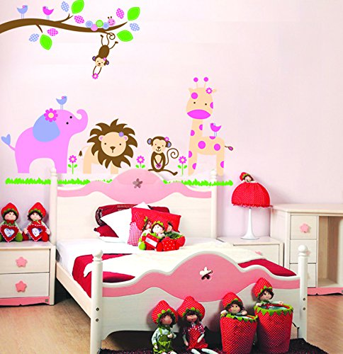 Revesun Jungle Party Wall Stickers Home Decor Wall Sticker For Kids Rooms front-13943