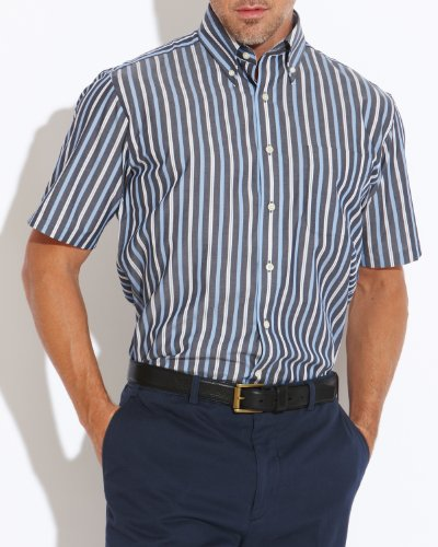Savile Row Men's Navy White Blue Stripe Buttondown Collar Short Sleeved Casual Shirt Size Small