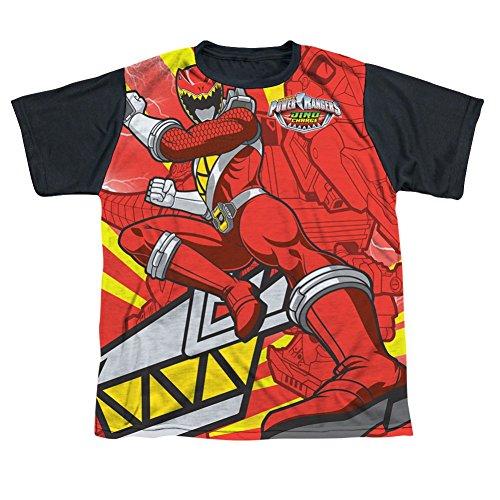 Power Rangers Red Ranger Kick All Over Youth Black Back T-Shirt