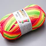 100 gr Sockenwolle Regia 4-fach Fluormania neon rainbow color Fb.7188