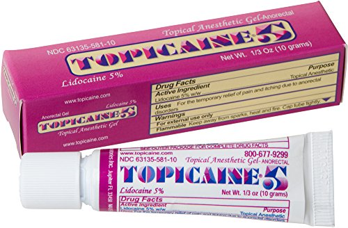 TOPICAINE 5%- Net Wt. 1/3 OZ (10 grams) Lidocaine Gel Anesthetic Anorectal Skin Numbing Gel