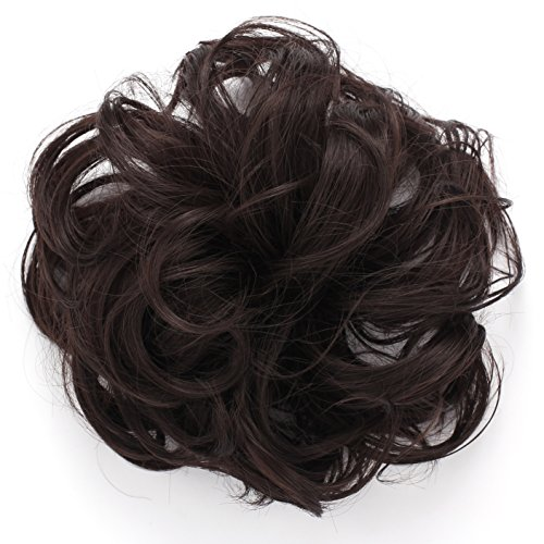 Onedor Synthetic Messy Hair Bun Extension Chignon Hair Piece Wig (4#-Dark brown) (Clip On Hair Bun compare prices)