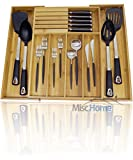 +Deluxe+ Expandable Bamboo Kitchen Drawer Organizer w/ Built-In Solid Bamboo Knife Block 100% Eco Friendly Adjustable Bamboo Kitchen Utensil & Cutlery Tray. [Patent Pending Original Design]