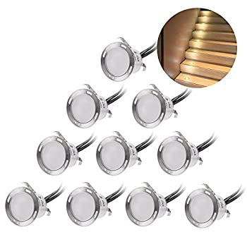 Recessed LED Deck Lighting Kits 12V Low Voltage Warm White φ22mm Waterproof IP 67,Led In Ground Lighting for Steps,Stair,Patio,Floor,Pool Deck ,Kitchen,Outdoor Led Landscape Lighting(10Pcs/Pack)