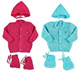 #8: Eio New Born Baby Woollen Knitted Baby Set 3Pcs Suit - Pack Of 2 (0-3 Months)
