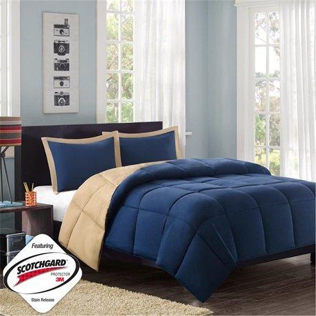 Mizone Reversible Microfiber Down Alt Comforter Mini Set - Navy - Twin/Twin Xl front-246016