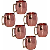 Prisha India Pure Copper Moscow Mule Mug With Brass Handle Set Of 6