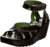 Fly London Women's Yossa Leather Patent Black Patent Wedges Heels P500277011 4 UK