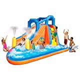 Banzai Gushing Geyser Water Park With 2 Water Blasting Geyser, Super Slick Water Slide, Continuous Airflow Blower...