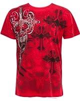 TG527T Cross,Sword and Shield Metallic Silver Embossed Short Sleeve Crew Neck Cotton Mens Fashion T-Shirt