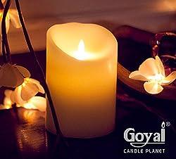 GOYAL® Flameless LED Pillar Candle 5 Inches (White)