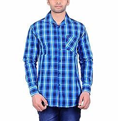 Cotblend Men's Casual Shirt (COTBLEBD15-M, Blue, M)