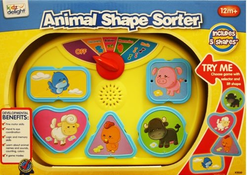 Kidz Delight Animal Shape Sorter, Yellow (Discontinued by Manufacturer)