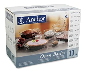 Anchor Hocking Oven Basics 11 Piece Bake Set, Crystal Clear by Anchor Hocking