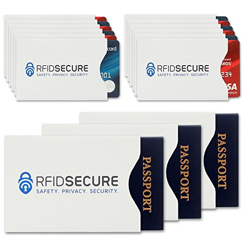 15 RFID Blocking Sleeves (12 Credit Card & 3 Passport Protectors) Top Identity Theft Protection Travel Case Set. Smart Holders Fit Wallet, Purse & Cell Phones. Shields Radio Frequency ID (Radio Frequency Protection Sleeve compare prices)