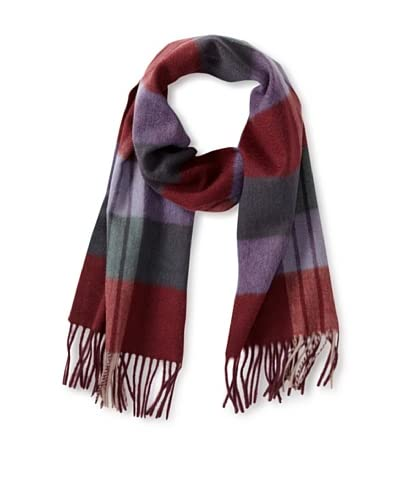 a & R Cashmere Women's Waterweave Cashmere Check Scarf, Merlot/Heather grey As You See