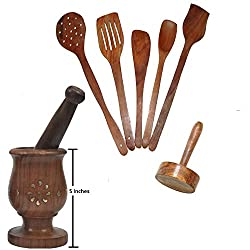 Daily Essential Wooden Kitchen Tool Set Including Large Mortar & Pestle Set (Khalbatta),Masher & 5 Pc. Multipurpose Sheesham Wood Spoon Set