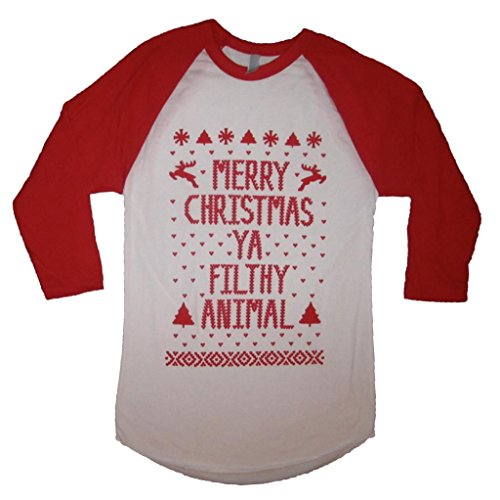 70b45314 Better Than Real Life Tees Merry Christmas Ya Filthy Animal Small Raglan  Shirt ...