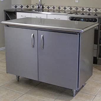 Professional Chef Kitchen Island With Stainless Steel Top Industrial Scientific