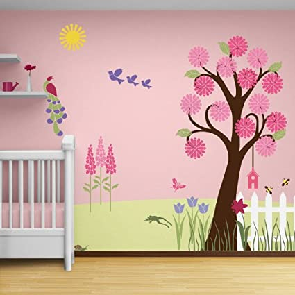 Girls Wall Decor - Flower Garden Theme Wall Mural - Wall Stencils for Decorating a Girls Room - NOT DECALS